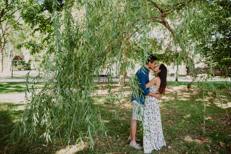 a picture of a couple kissing under a tree at Penn State University